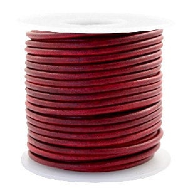 1 Meter Lederband 3 mm Vintage red, glatt, rund