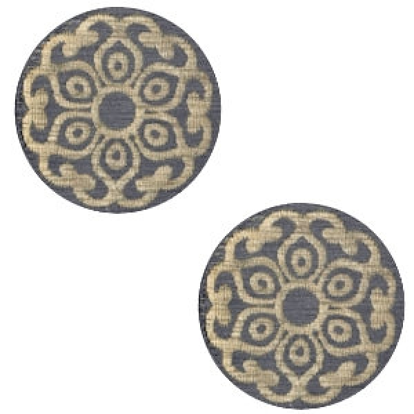 2 Holz Cabochon 12mm Mandala dark grey